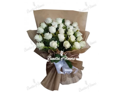 2 Doz Imported White Roses