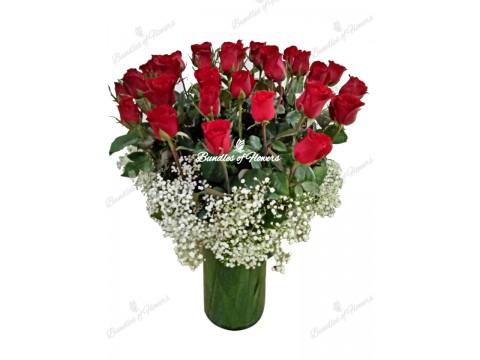 3 Doz Red Roses Vase