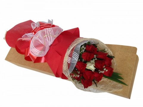 12 Red Roses with White Boxed