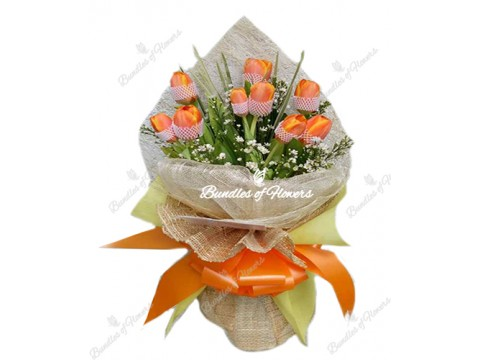10 Orange Tulips Bouquet