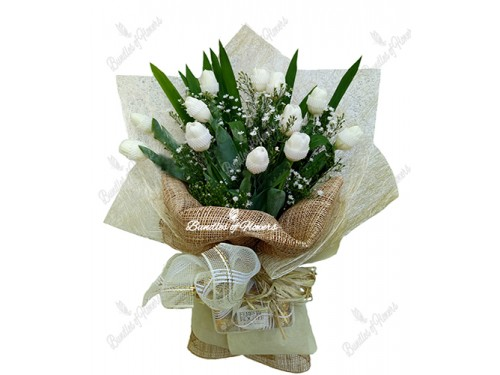12 white Tulips with choco
